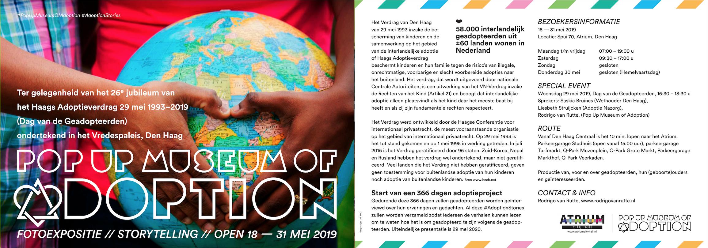 Tijdelijk Adoptiemuseum Den Haag van 18 t/m 31 mei 2019